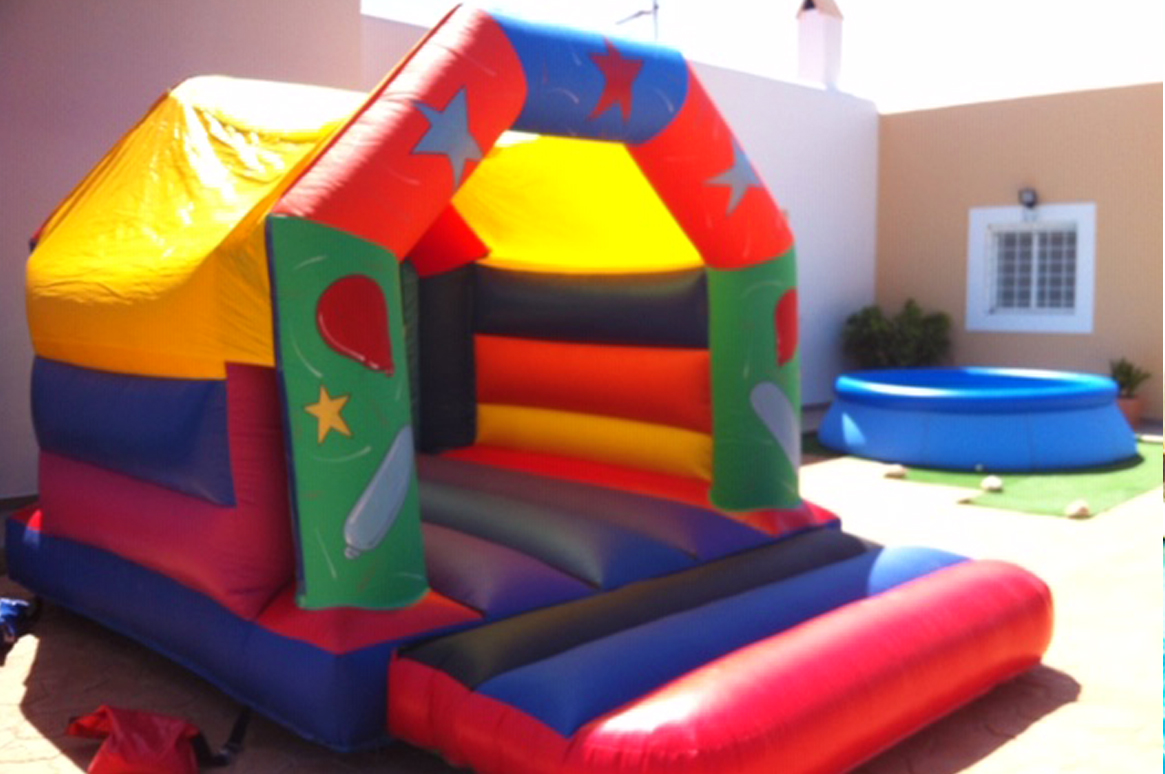 Bright colours of the 'Party Time' bouncy castle