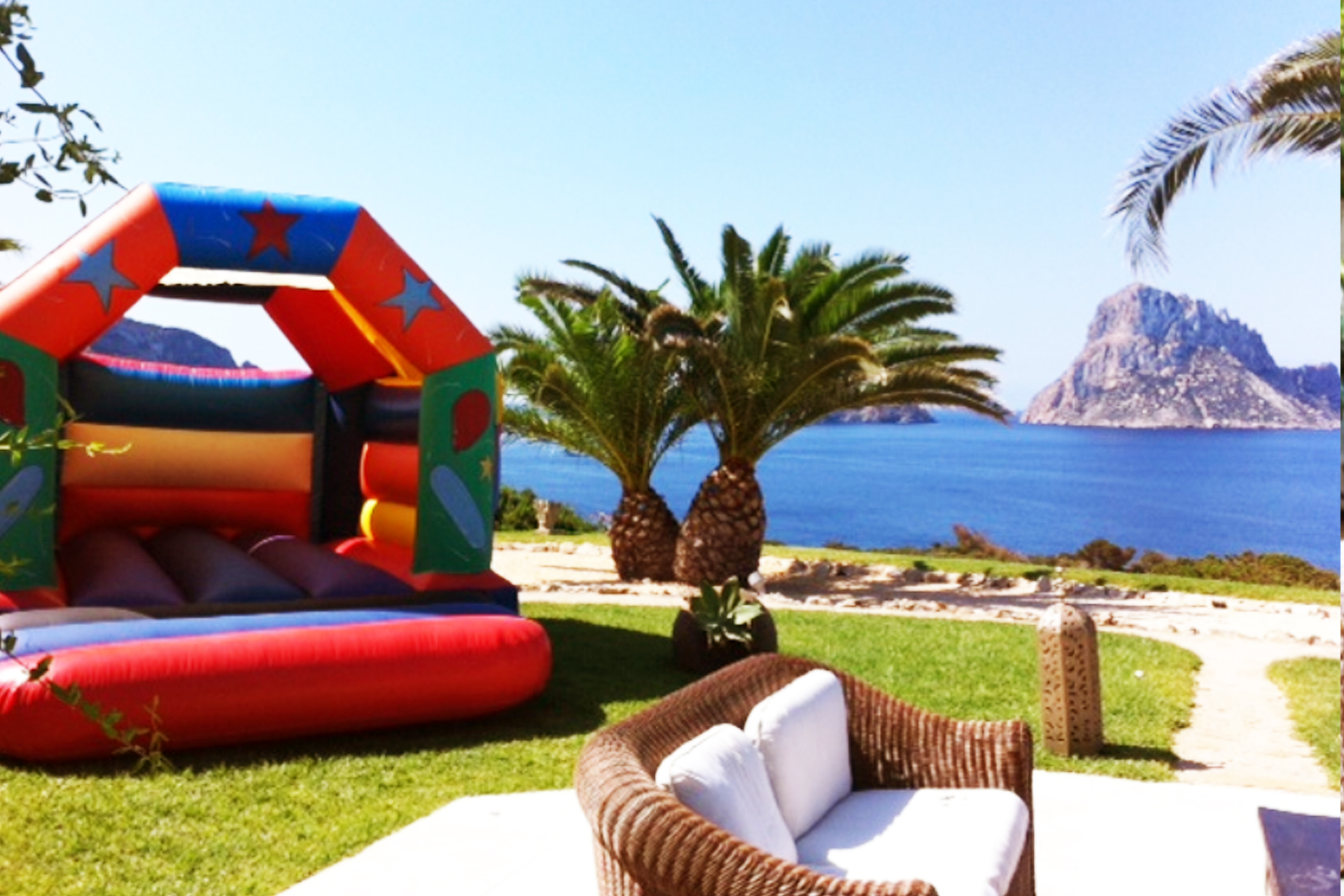 Party Time Bouncy Castle enjoying an amazing view from this private villa in Ibiza