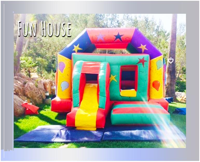 The colourful 'Fun House' bouncy castle