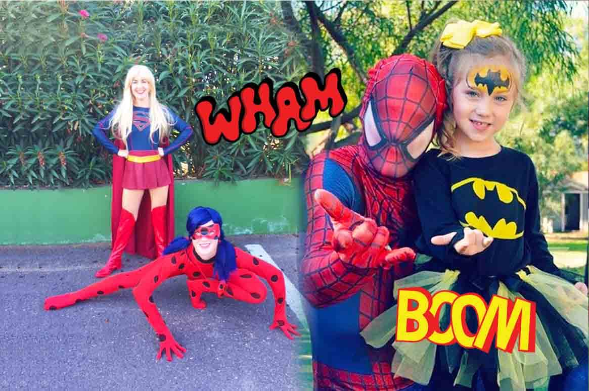 Ladybug and Supergirl with Spiderman