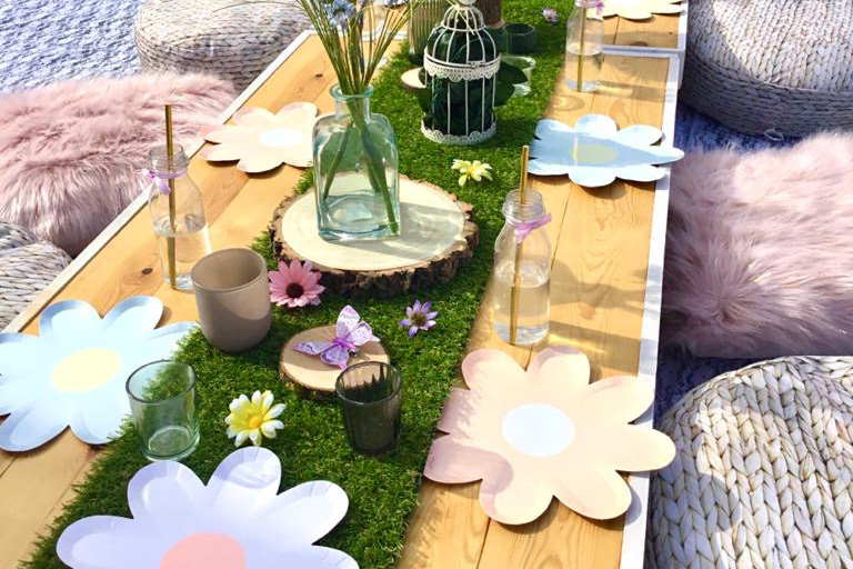 Children's Picnic Table Custom Themed at a wedding in Ibiza - Bodas Ibiza